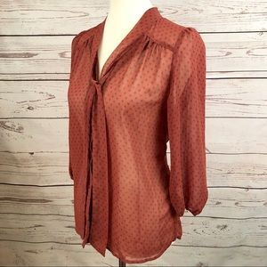 Retro Sheer Burnt Orange Mod Polka Dot Blouse
